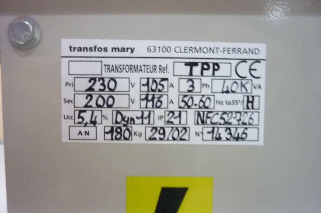 TRANSFORMER 230V   200V, Year : 2002, ref.45906   www.coci-sa.com/en   45906n_1.jpg