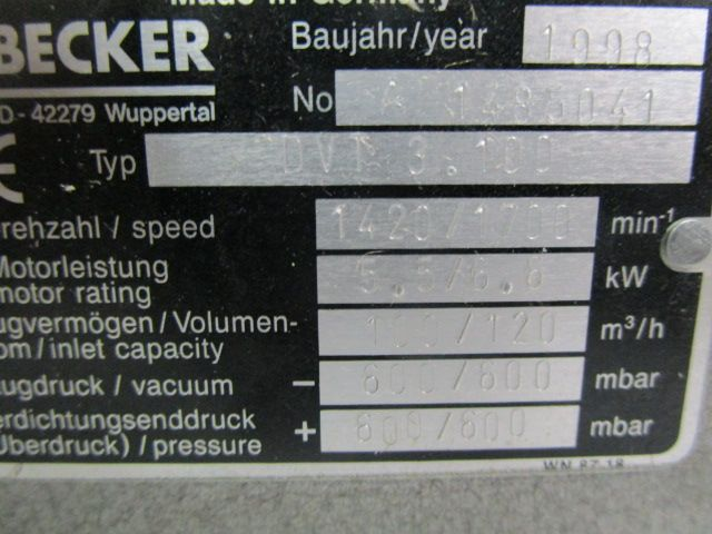 COMPRESSOR BECKER, Año: 1998, ref.62310 | www.coci-sa.com/es | 62310n.jpg